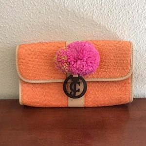 Juicy Couture raffia clutch NWT